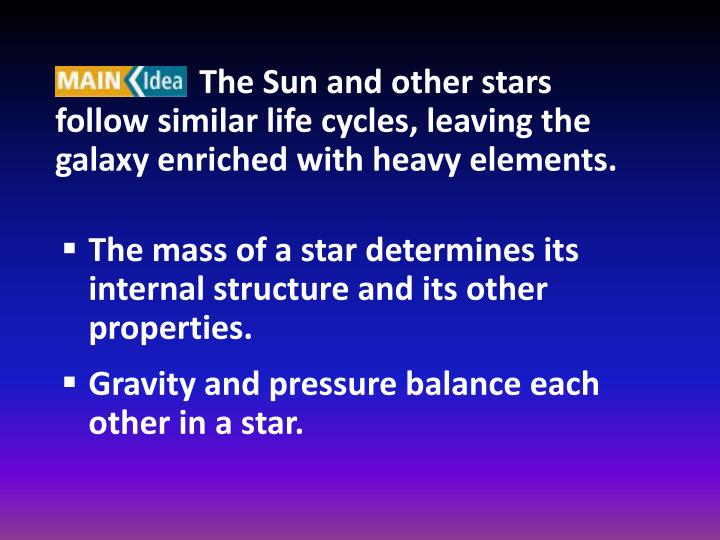The Sun and other stars follow similar life cycles, leaving the galaxy enriched with heavy elements.