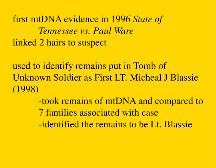 first mtDNA evidence in 1996