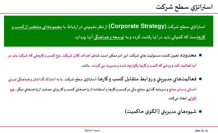 استراتژي سطح شرکت