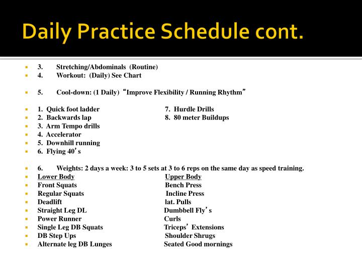 Daily Practice Schedule cont.