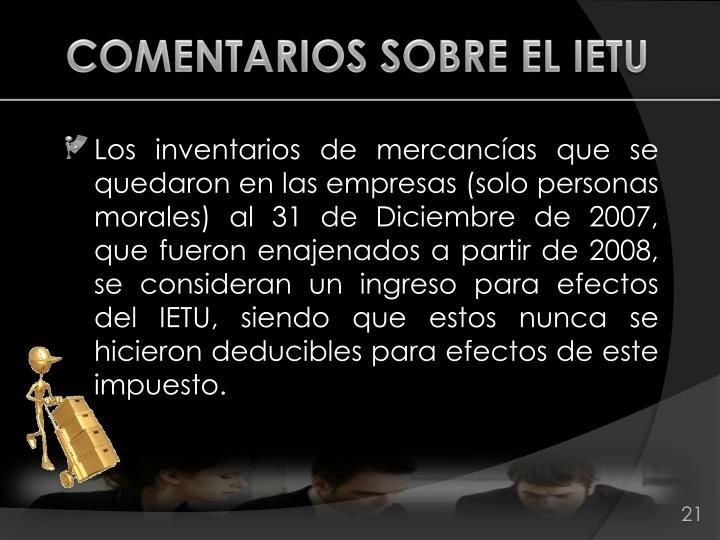 COMENTARIOS SOBRE EL IETU