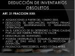 deducci n de inventarios obsoletos
