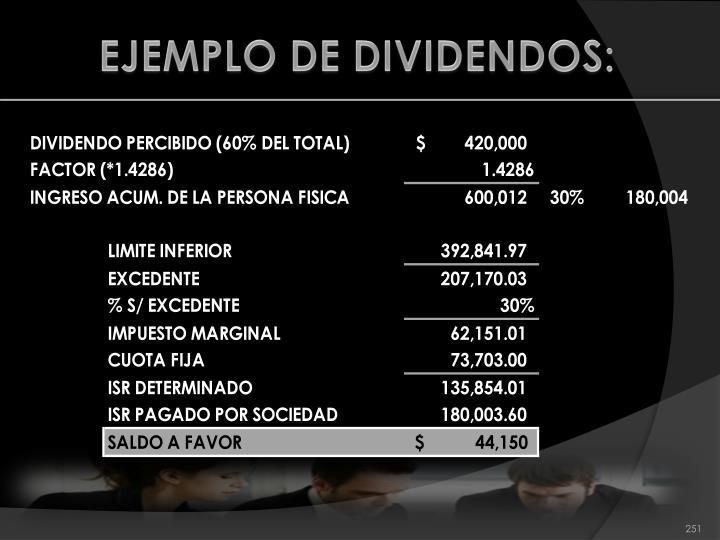 EJEMPLO DE DIVIDENDOS: