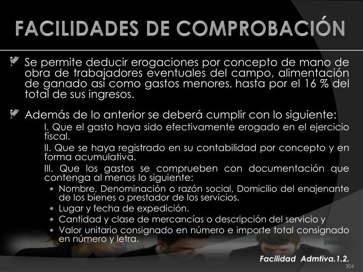 FACILIDADES DE COMPROBACIÓN