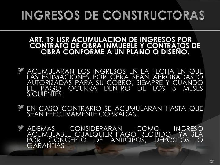 INGRESOS DE CONSTRUCTORAS