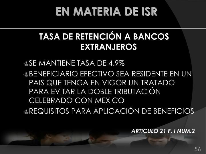 TASA DE RETENCIÓN A BANCOS EXTRANJEROS