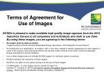 terms of agreement for use of images