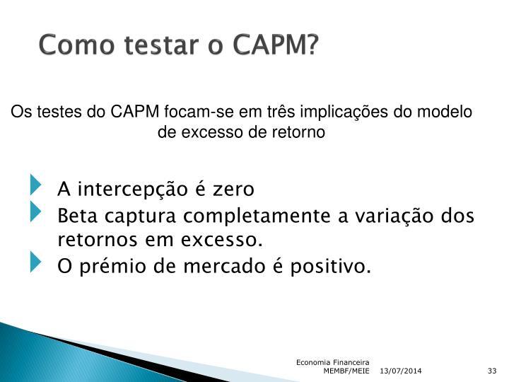 Como testar o CAPM?