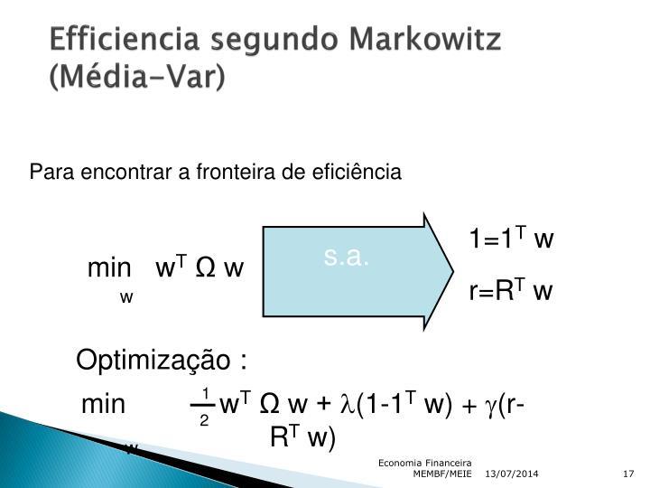 Efficiencia segundo Markowitz (Média-Var)
