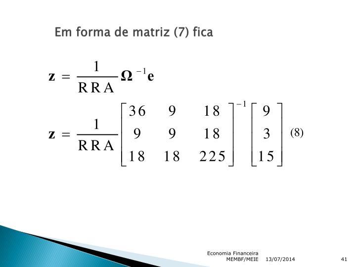 Em forma de matriz (7) fica
