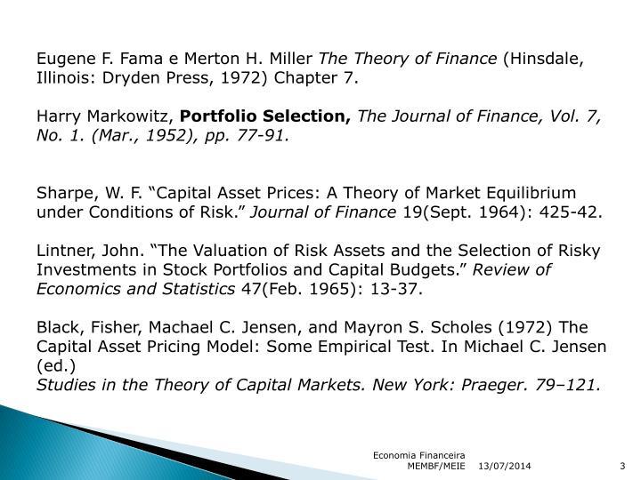 Eugene F. Fama e Merton H. Miller