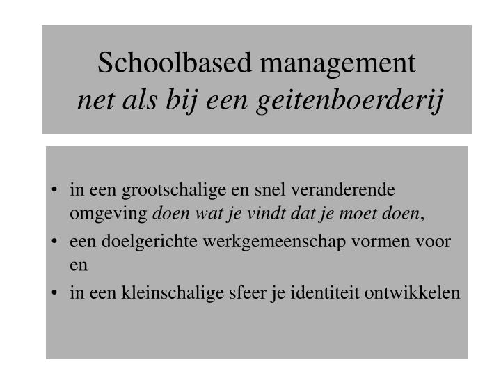 Schoolbased management