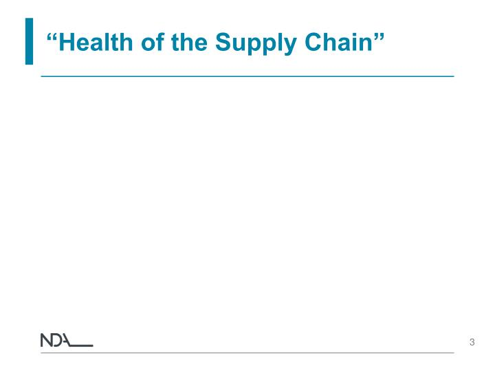 Health of the supply chain