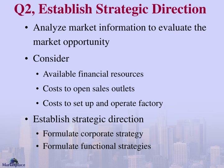 Q2, Establish Strategic Direction