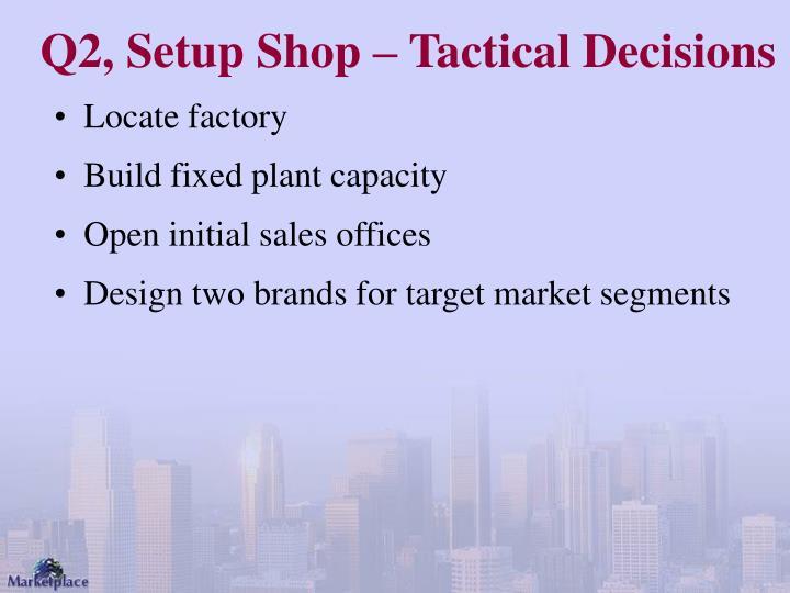 Q2, Setup Shop – Tactical Decisions
