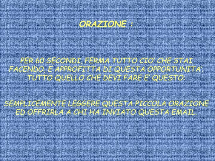 ORAZIONE :