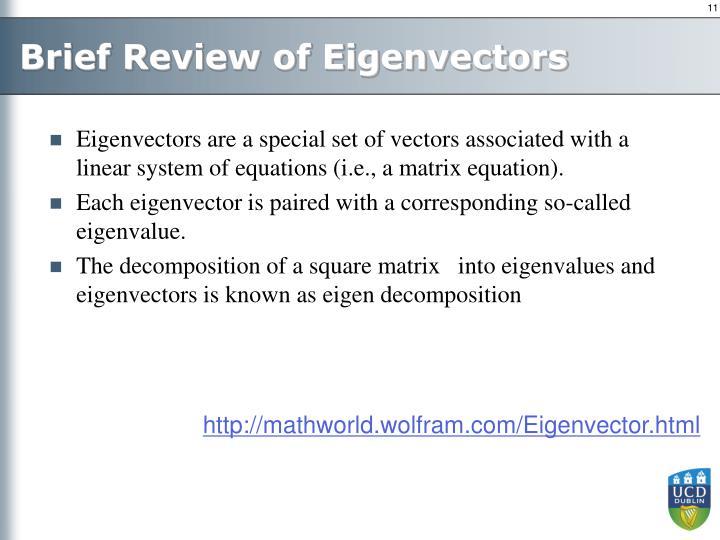 Brief Review of Eigenvectors