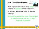 local conditions needed