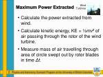 maximum power extracted