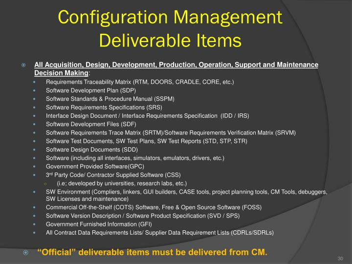 Configuration Management Deliverable Items