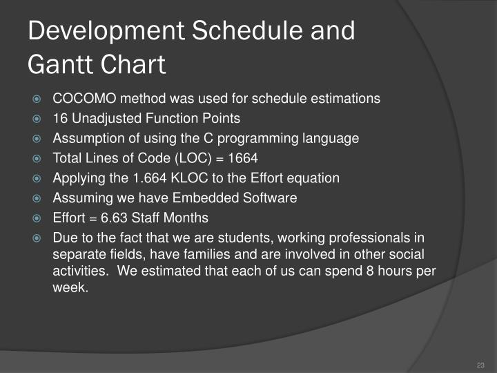 Development Schedule and Gantt Chart
