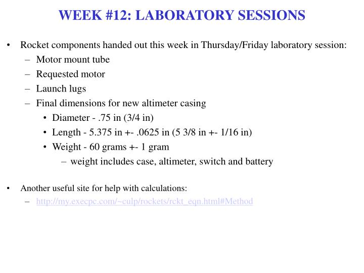 Week 12 laboratory sessions