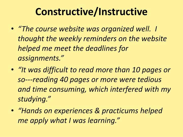 Constructive/Instructive