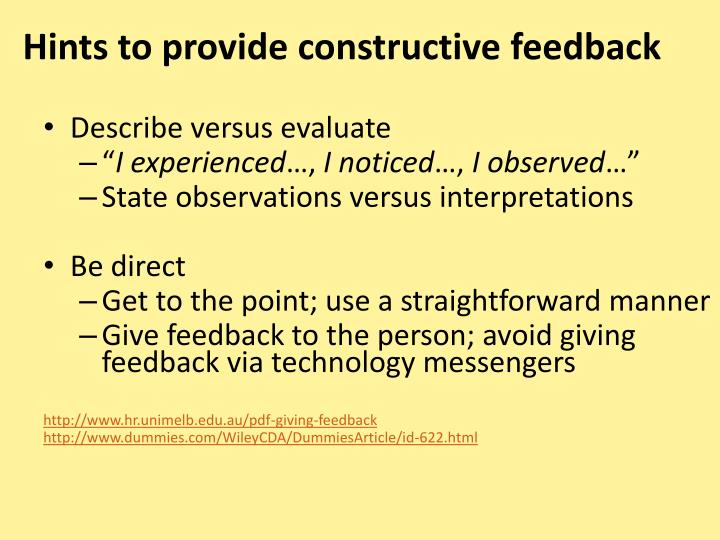 Hints to provide constructive feedback