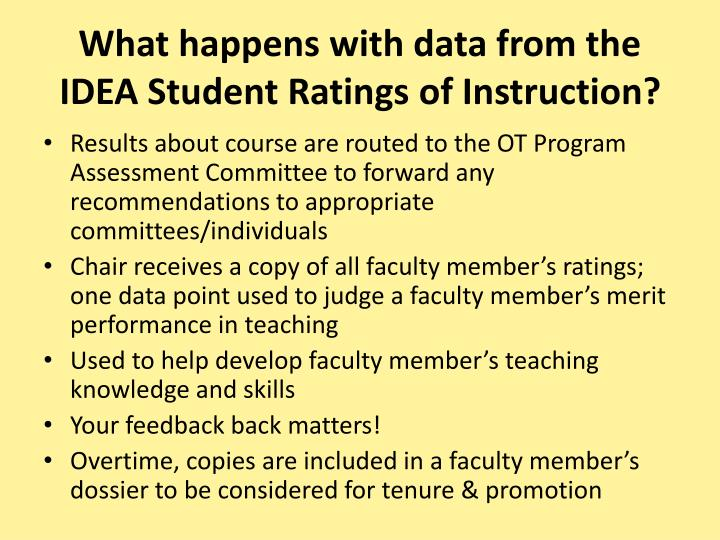 What happens with data from the IDEA Student Ratings of Instruction?