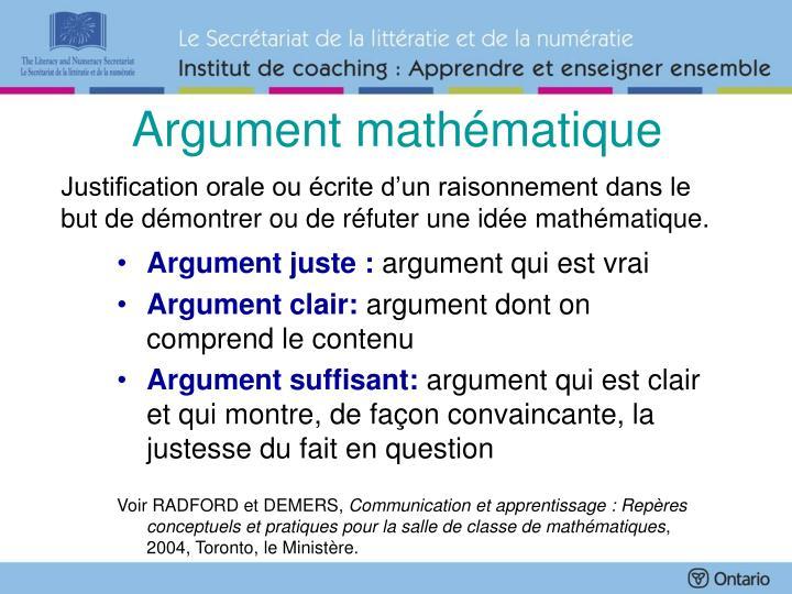Argument mathématique