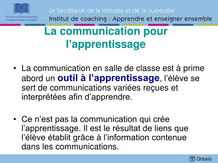 La communication pour l'apprentissage