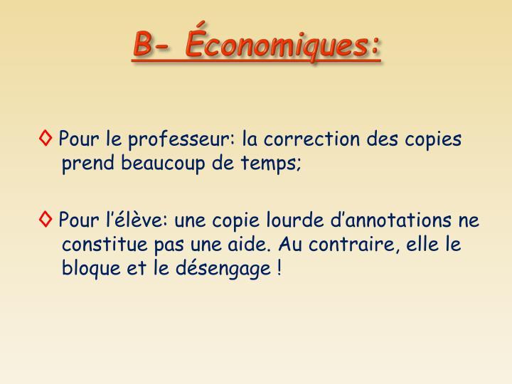 B- Économiques: