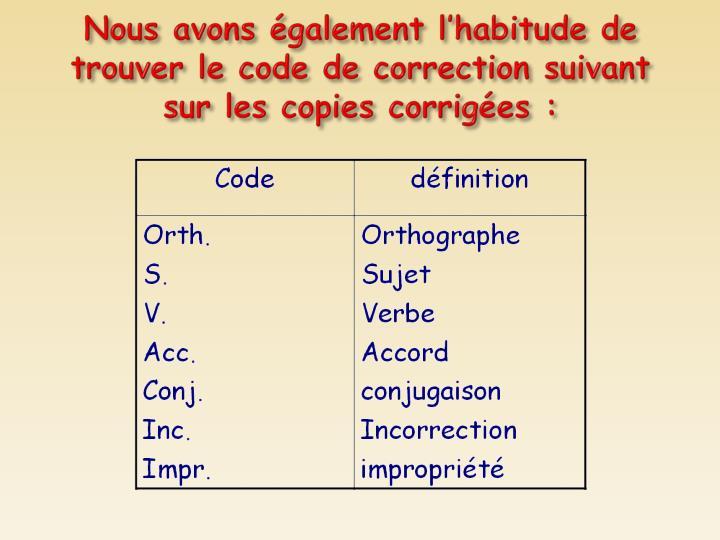 Nous avons également l'habitude de trouver le code de correction suivant sur les copies corrigées: