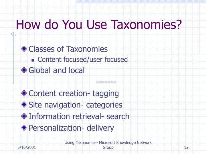 How do You Use Taxonomies?