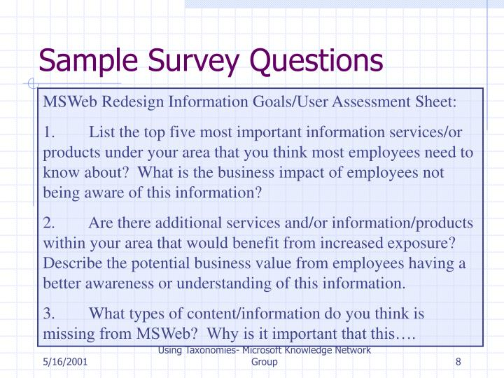 Sample Survey Questions