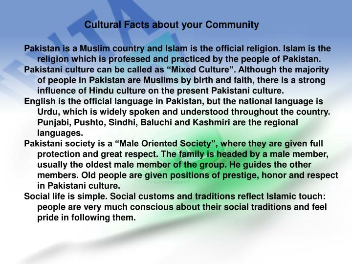 Cultural Facts about your Community