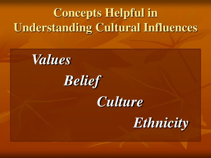 Concepts Helpful in Understanding Cultural Influences