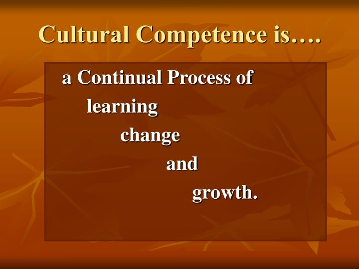 Cultural Competence is….