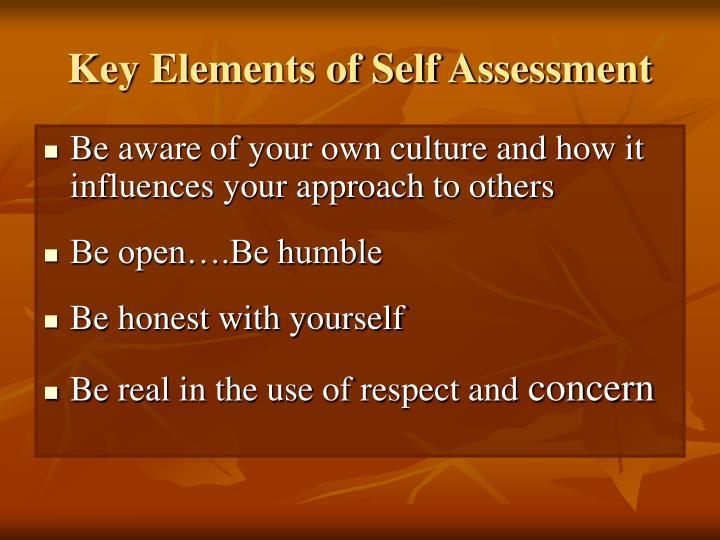 Key Elements of Self Assessment