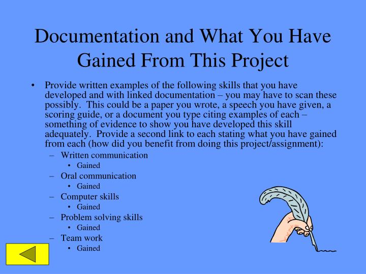 Documentation and What You Have Gained From This Project