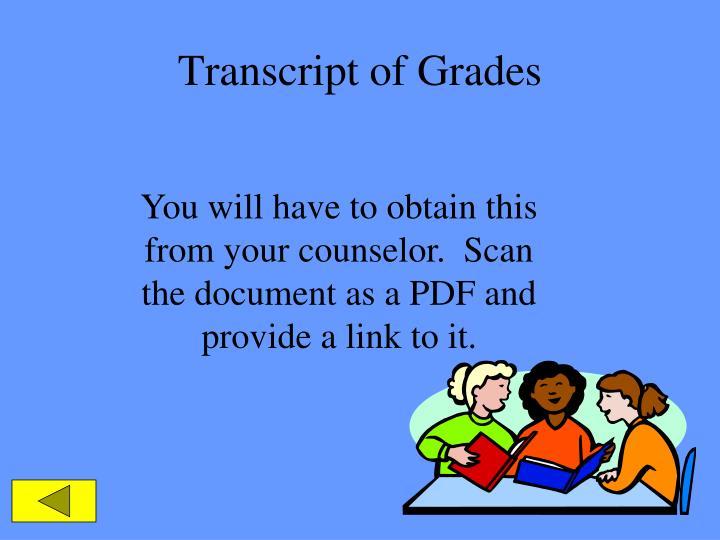 Transcript of Grades