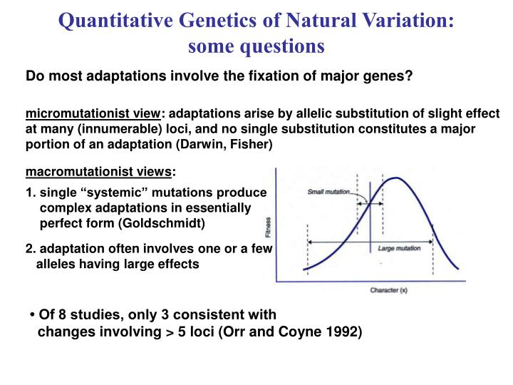 Quantitative genetics of natural variation some questions