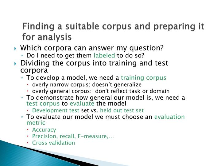 Finding a suitable corpus and preparing it for analysis