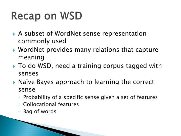 Recap on WSD