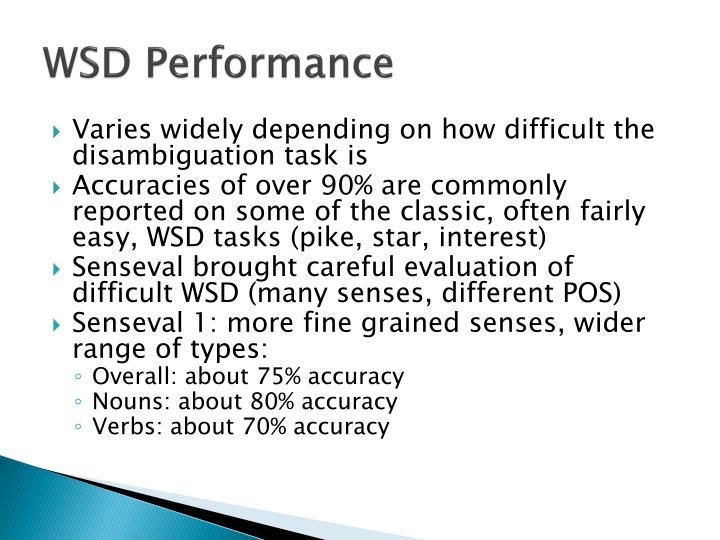 WSD Performance