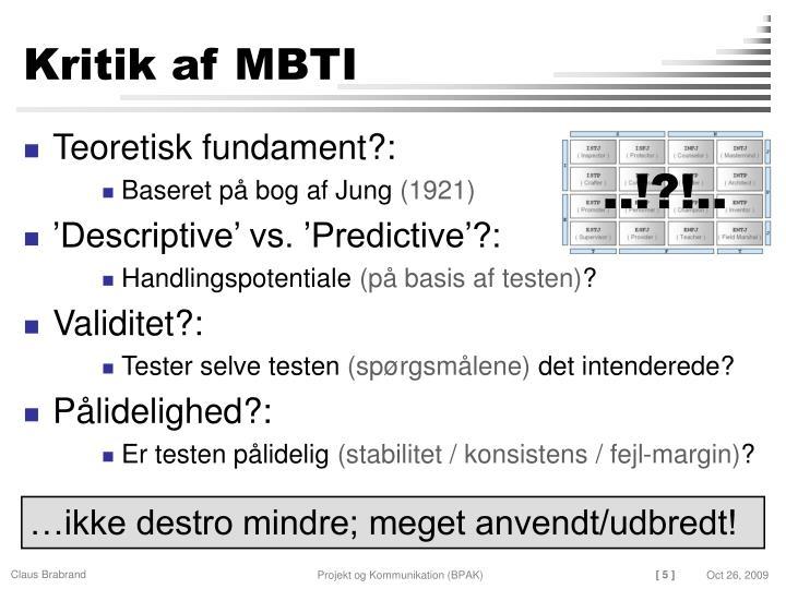 Kritik af MBTI