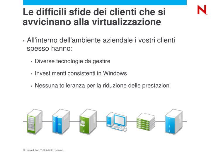 Le difficili sfide dei clienti che si avvicinano alla virtualizzazione