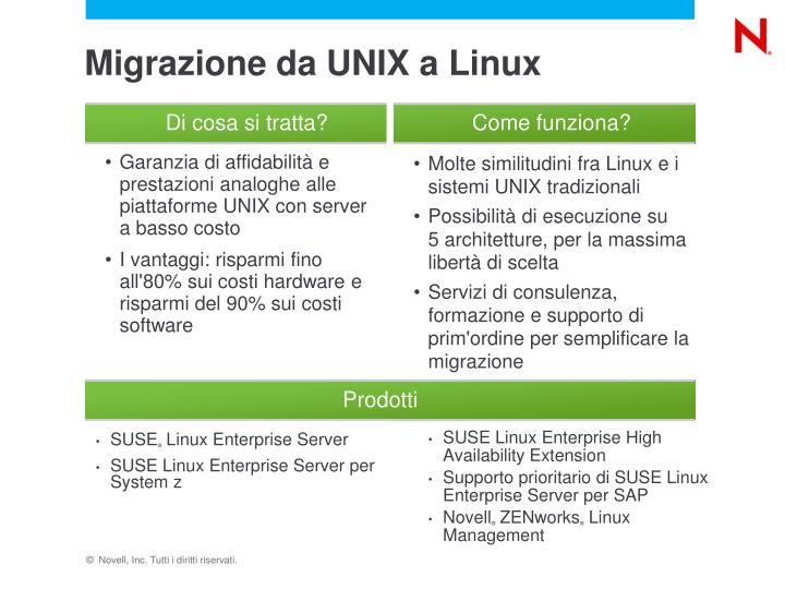 Migrazione da UNIX a Linux