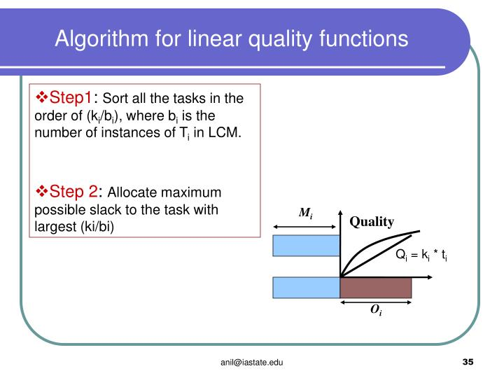 Algorithm for linear quality functions