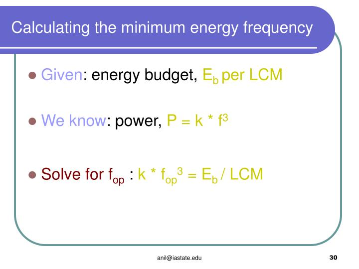 Calculating the minimum energy frequency